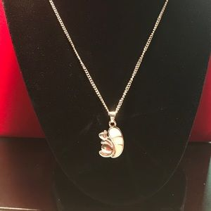 Jewelry - Girls Squirrel White Topaz  Necklace